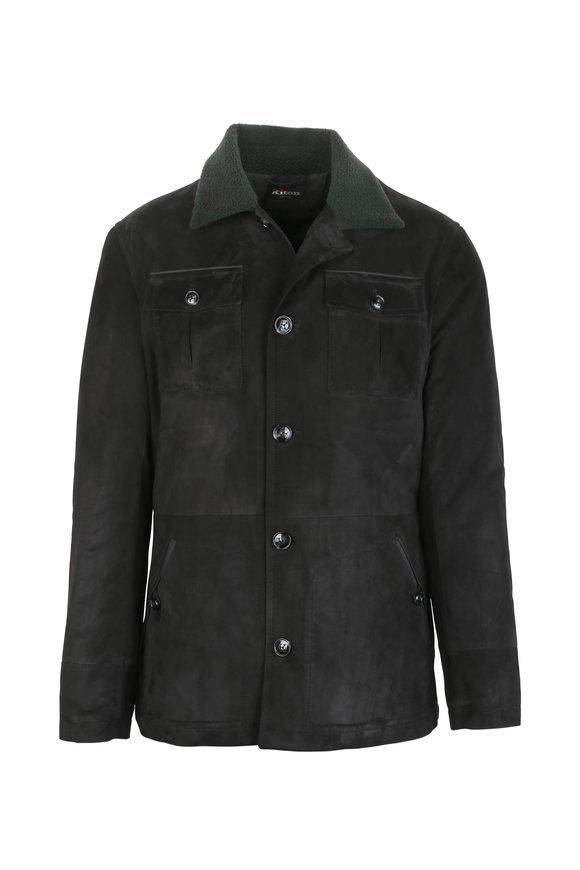 Kiton Smoky Black Suede Jacket