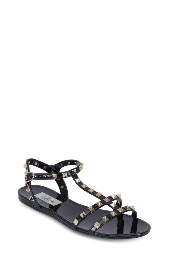 Valentino Garavani Rockstud Black PVC Flat Sandal
