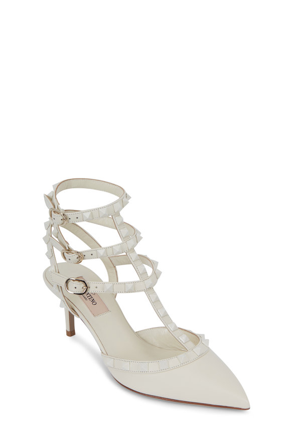 Valentino Garavani Rockstud Ivory Leather Pump, 65mm