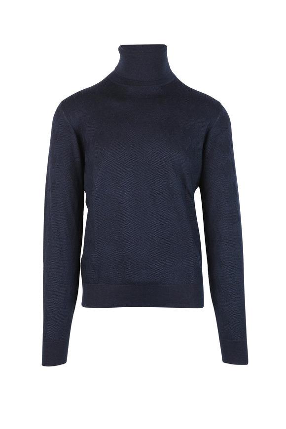 Luciano Barbera Navy Blue Wool, Silk & Cashmere Turtleneck