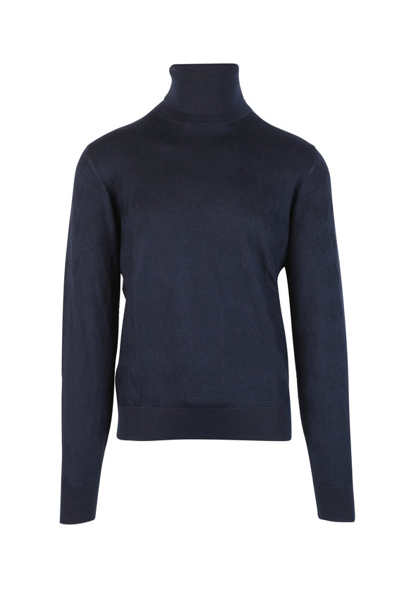 Luciano Barbera Navy Blue Wool, Silk & Cashmere Turtleneck