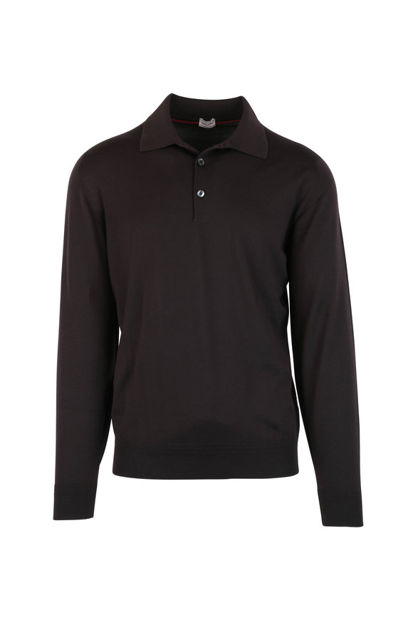 Luciano Barbera Dark Brown Wool Long Sleeve Polo