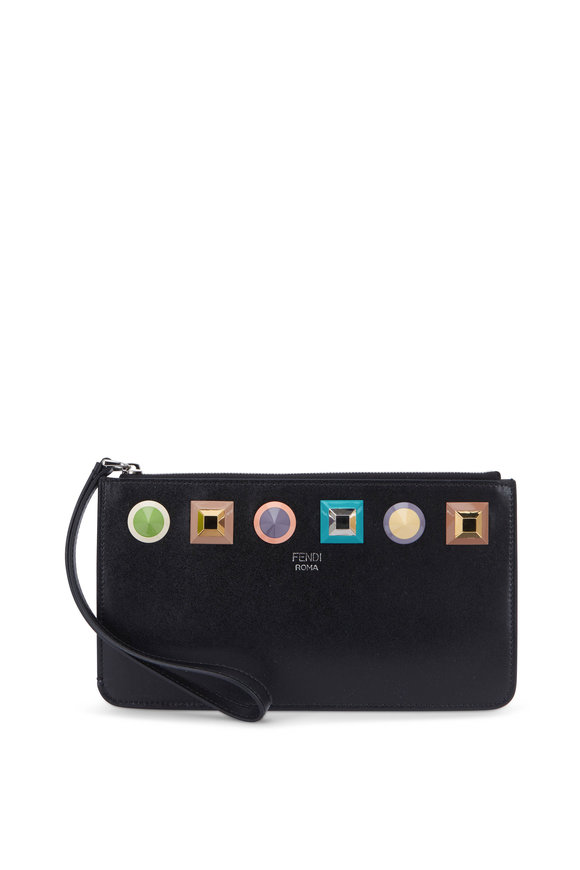 Fendi  Liberty Black Leather Rainbow Studded Wristlet