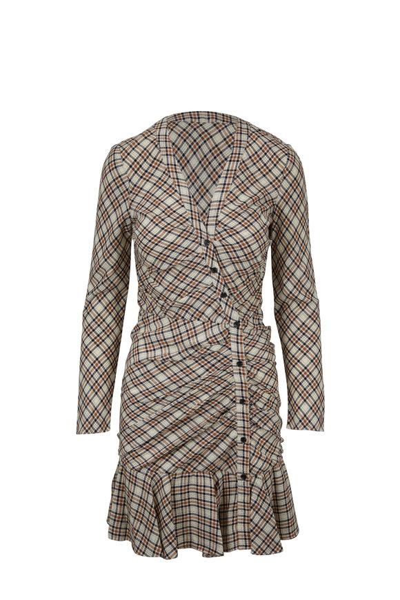 Veronica Beard Rowe Ecru & Rust Lurex Plaid Ruched Dress