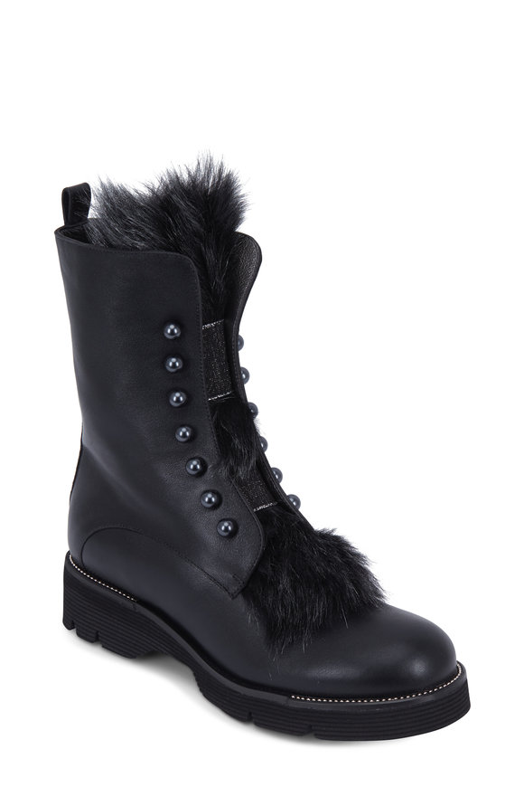 Henry Beguelin Black Leather Tuscan Hollywood Fur Boot