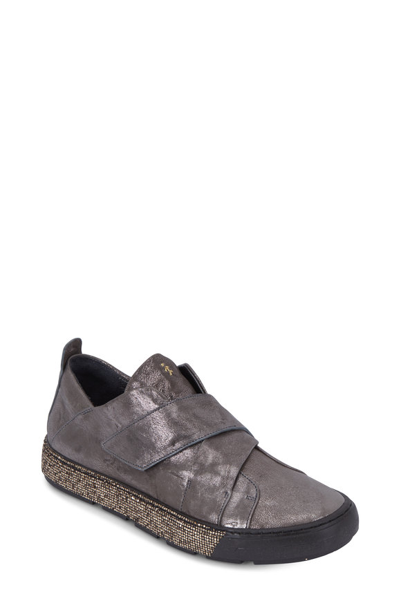 Henry Beguelin Anthracite Metallic Leather Velcro Sneaker