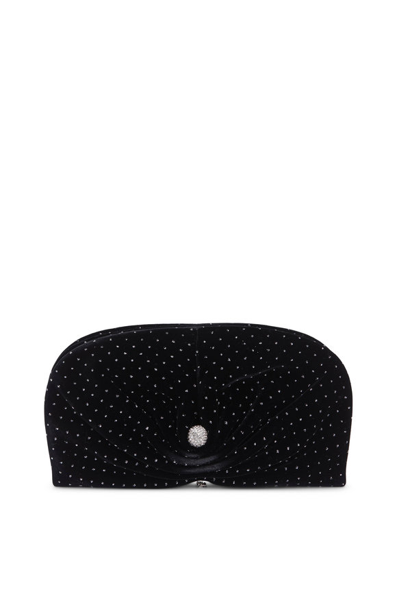 Jimmy Choo Vivien Black Velvet Glitter Spotted Clutch