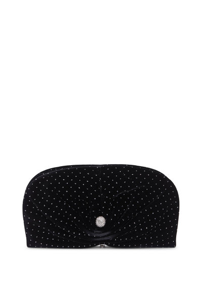 Jimmy Choo - Vivien Black Velvet Glitter Spotted Clutch