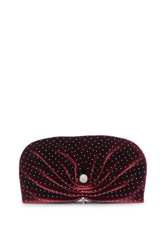 Jimmy Choo Vivien Grape Velvet Glitter Spotted Clutch