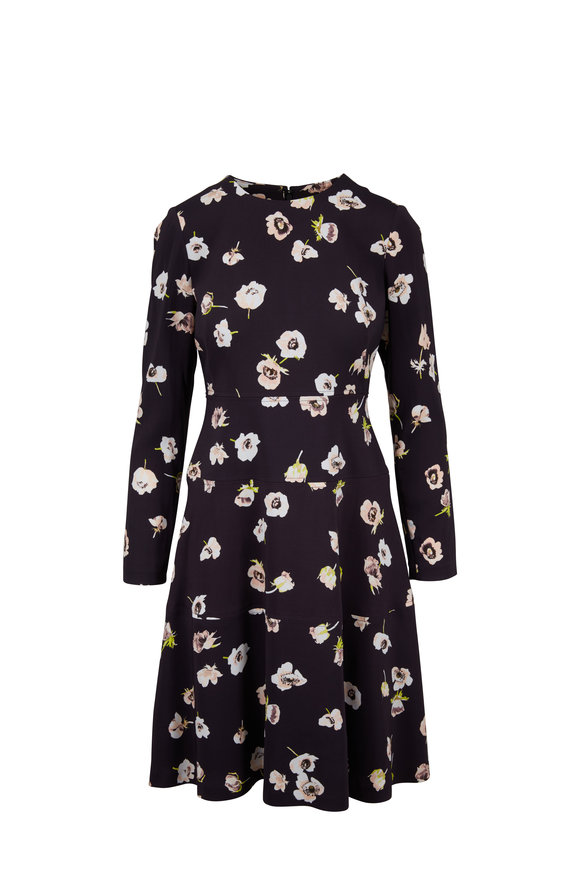 Lela Rose Midnight Floral Long Sleeve Tiered Hem Dress