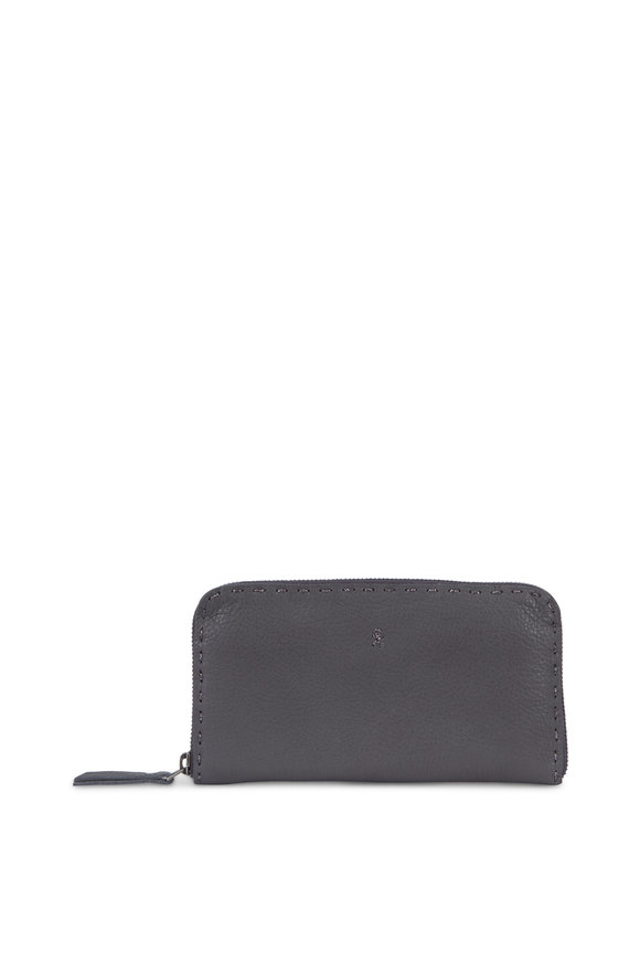 Henry Beguelin Ocean Anthracite Leather Zip-Around Wallet