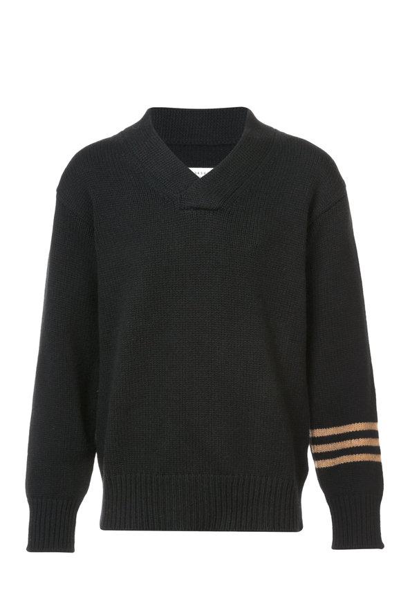 Maison Margiela Black Three-Striped Elbow Patch Sweater