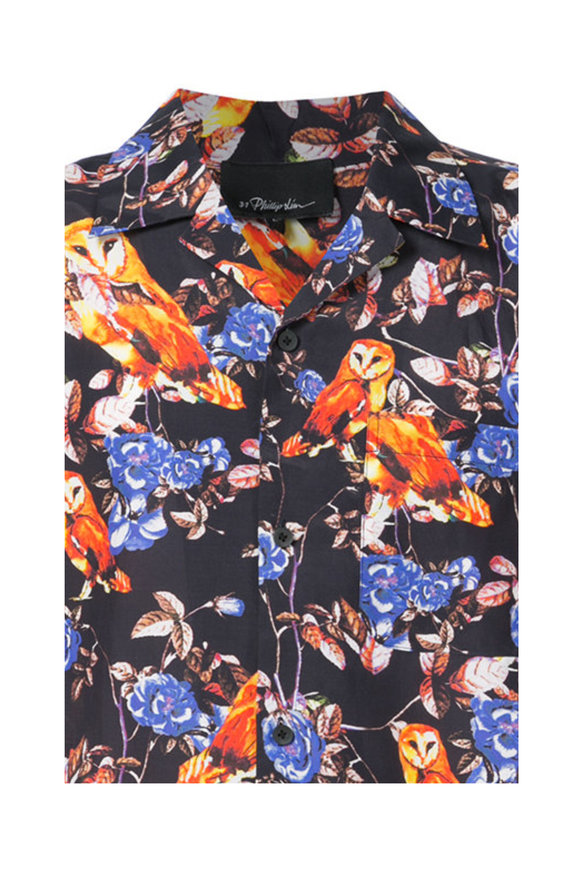 3.1 Phillip Lim Black & Multicolor Owl Print Shirt