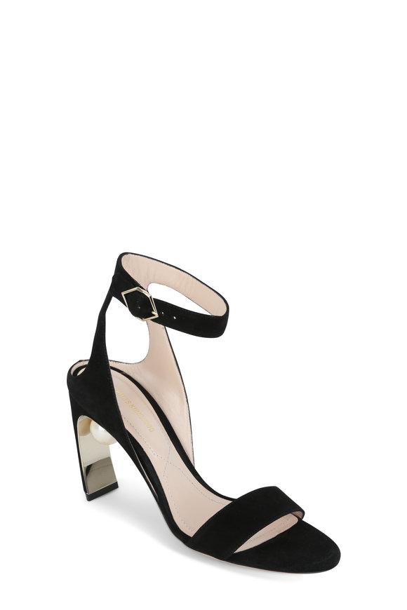 Nicholas Kirkwood Lola Black Suede Pearl Sandal, 90mm