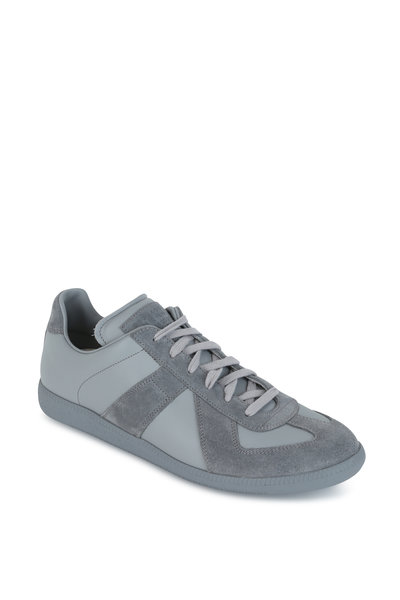 Maison Margiela - Replica Gray Leather & Suede Lace-Up Sneaker