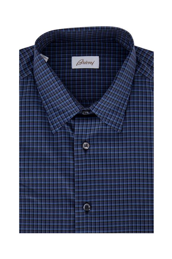 Brioni Blue Plaid Sport Shirt