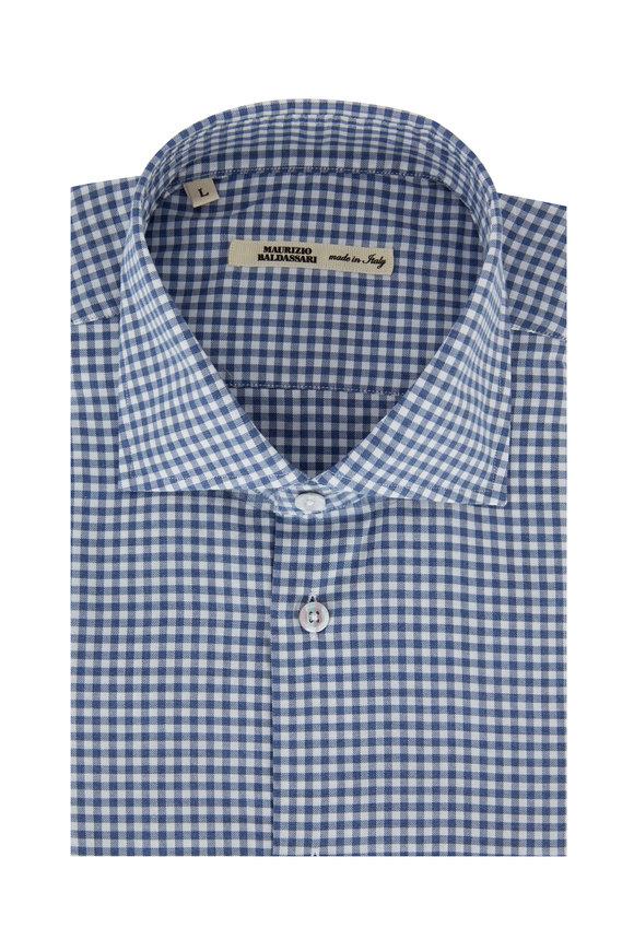 Maurizio Baldassari Blue Gingham Sport Shirt