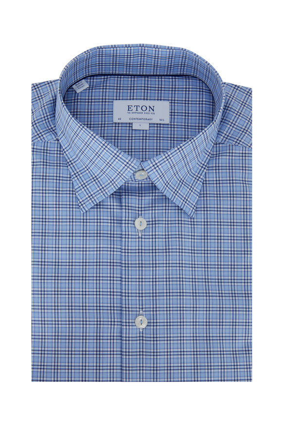 Eton Blue Plaid Contemporary Fit Dress Shirt