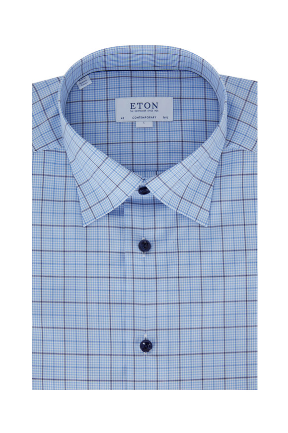 Eton Medium Blue Plaid Contemporary Fit Dress Shirt