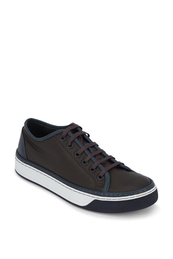 Lanvin Dark Green Nylon & Leather Sneaker