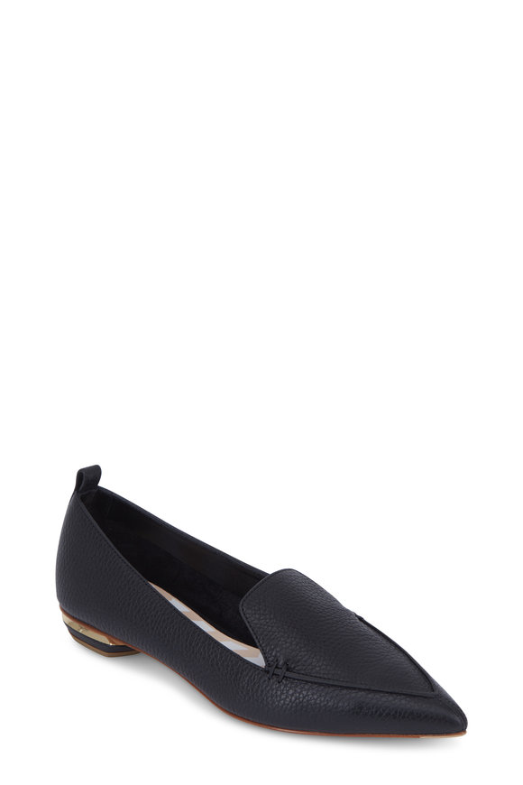 Nicholas Kirkwood Beya Black Leather Pointed Flat