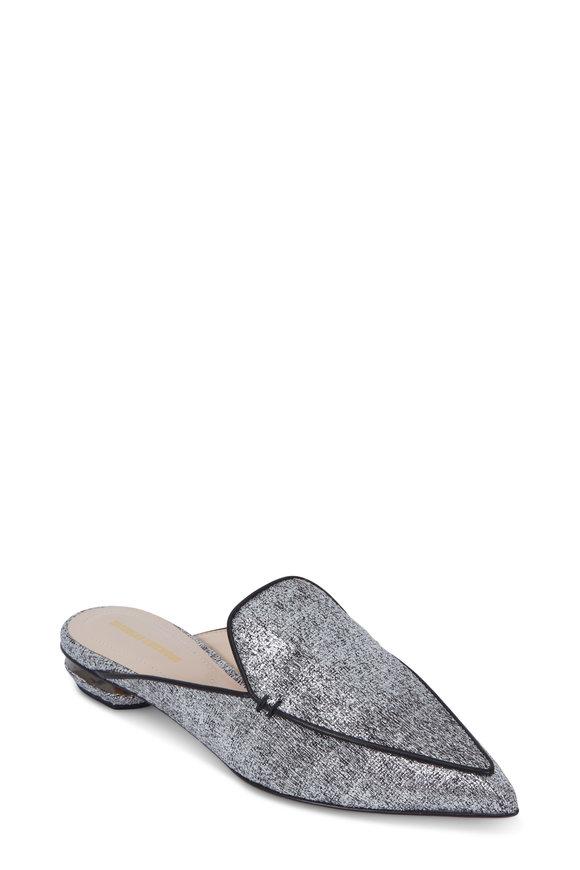 Nicholas Kirkwood Beya Metallic Silver Bouclé Leather Mule