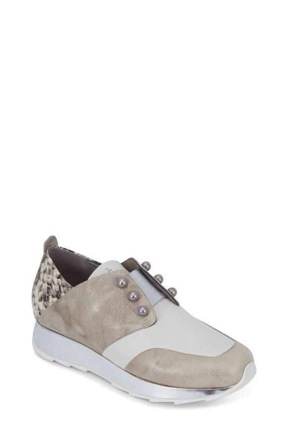 Henry Beguelin Ivory Mix-Media Leather Slip-On Sneaker