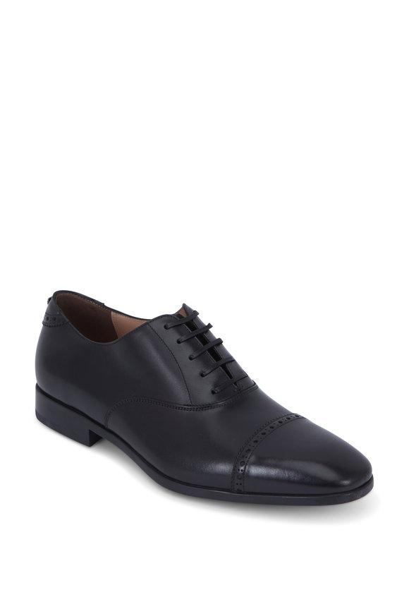 Salvatore Ferragamo Boston Black Leather Cap-Toe Oxford