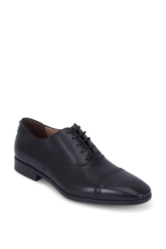 Boston Black Leather Cap-Toe Oxford