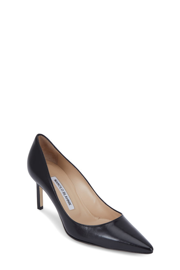 Manolo Blahnik Lisa Black Leather Pump, 70mm