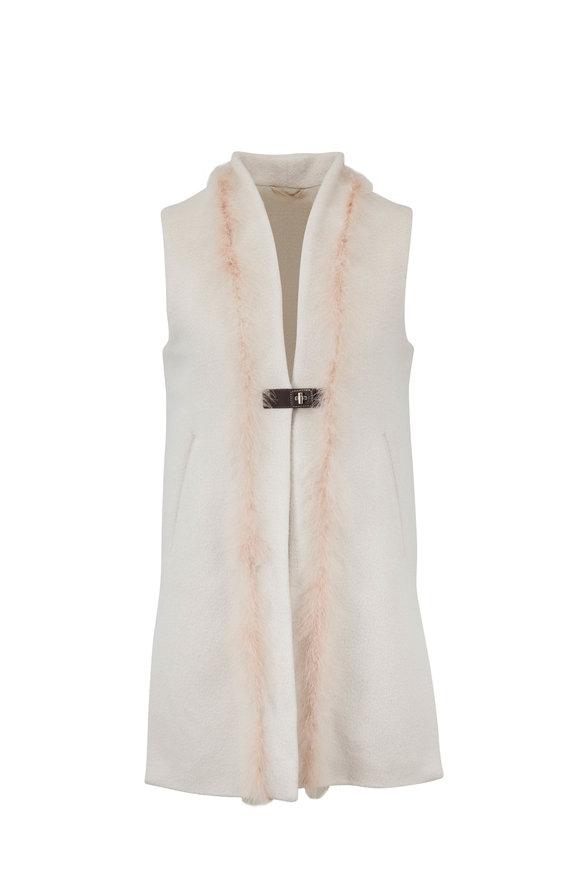 Herno Blush Wool & Silk Feather Trim Vest