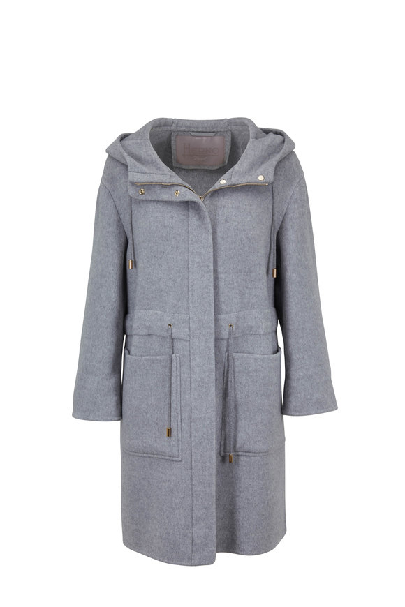Herno Gray Double-Faced Cashmere Hooded Coat