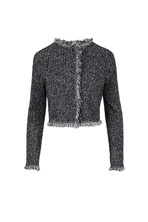 Oscar de la Renta Black & White Tweed Cropped Jacket