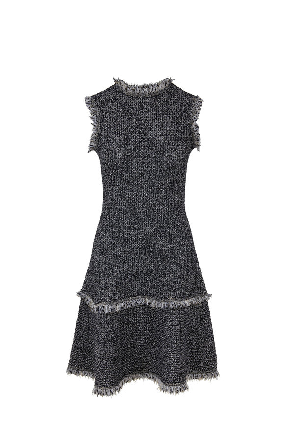 Oscar de la Renta Black & White Tweed Sleeveless Dress