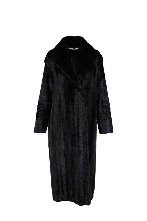 Oscar de la Renta Furs Black Mink & Chinese Lamb Wrap Coat
