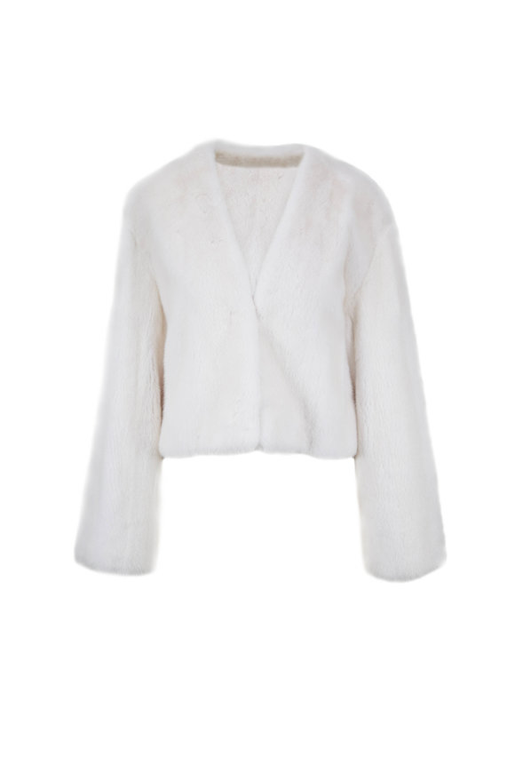 Oscar de la Renta Furs White Mink Collarless Jacket