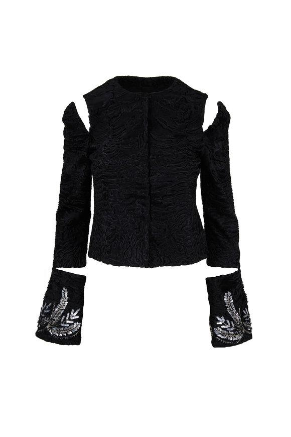 Oscar de la Renta Furs Persian Lamb Embellish Cuff Cold-Shoulder Jacket
