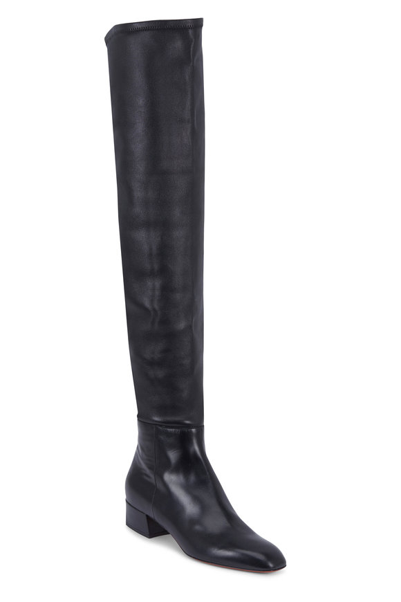 Santoni Bardot Black Nappa Stretch OTK Boot