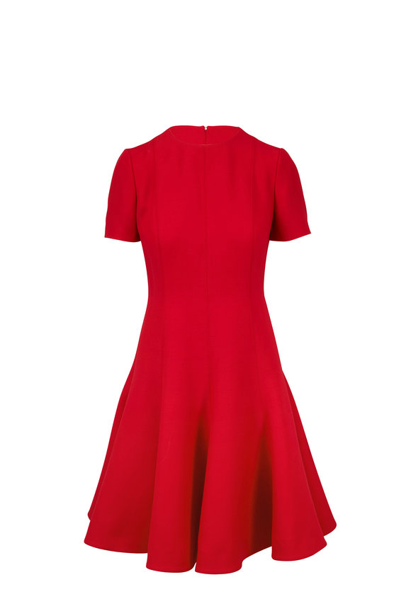 Valentino Red Crêpe Couture Short Sleeve Godet Dress