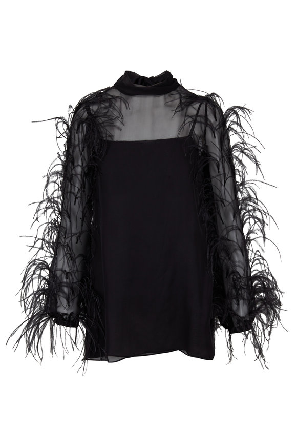 Valentino Black Silk Feather Sleeve Blouse