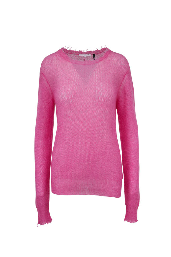 Helmut Lang Bubblegum Pink Feather Weight Mohair Sweater