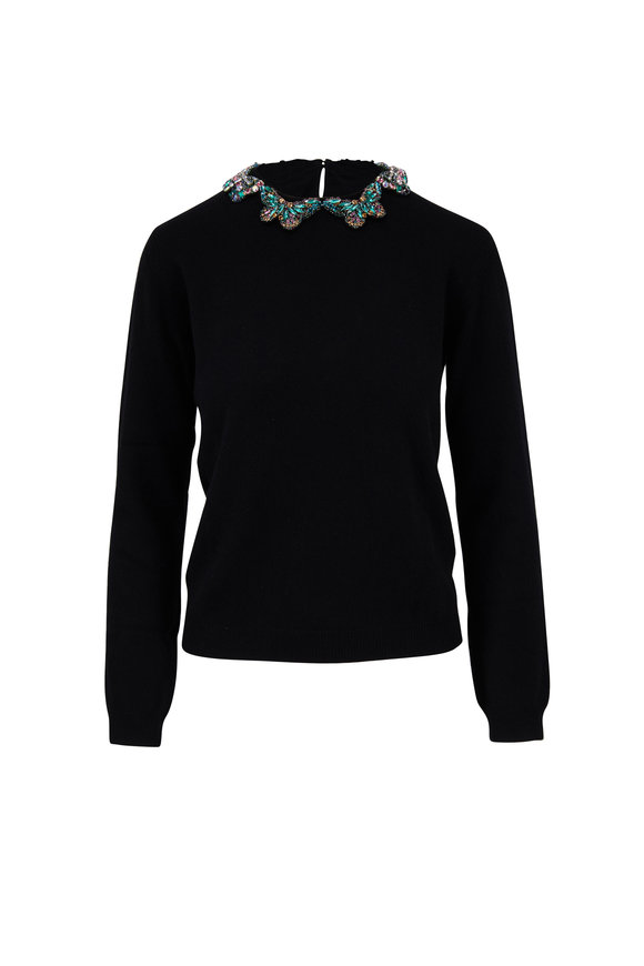 Valentino Black Wool & Cashmere Beaded Collar Sweater