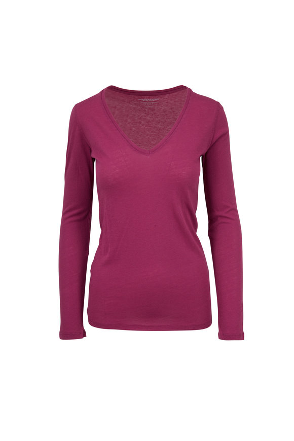 Majestic Magenta V-Neck Long Sleeve T-Shirt