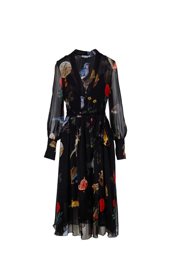 Oscar de la Renta Black Silk Chiffon Animal Print Belted Midi Dress