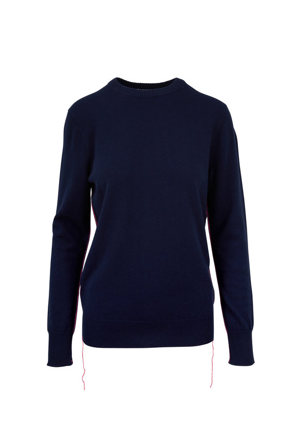 Helmut Lang Navy Cashmere Elongated Seam Detail Sweater