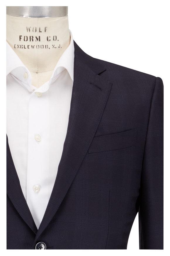 Ermenegildo Zegna Blue Wool Tonal Check Suit