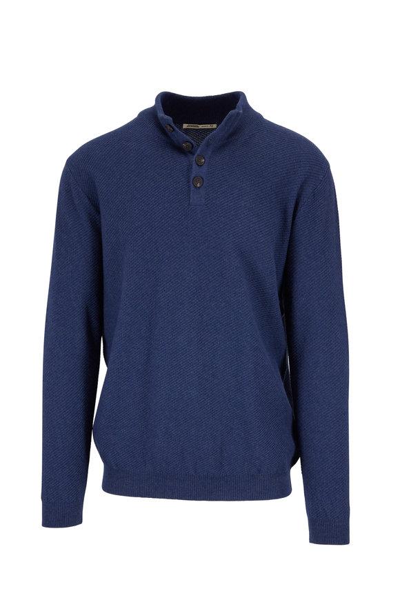 Maurizio Baldassari Blue Cashmere Quarter-Button Pullover