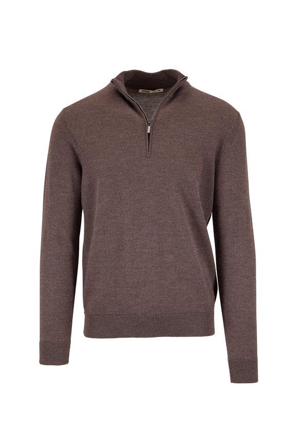 Maurizio Baldassari Dark Brown Wool Quarter-Zip Pullover