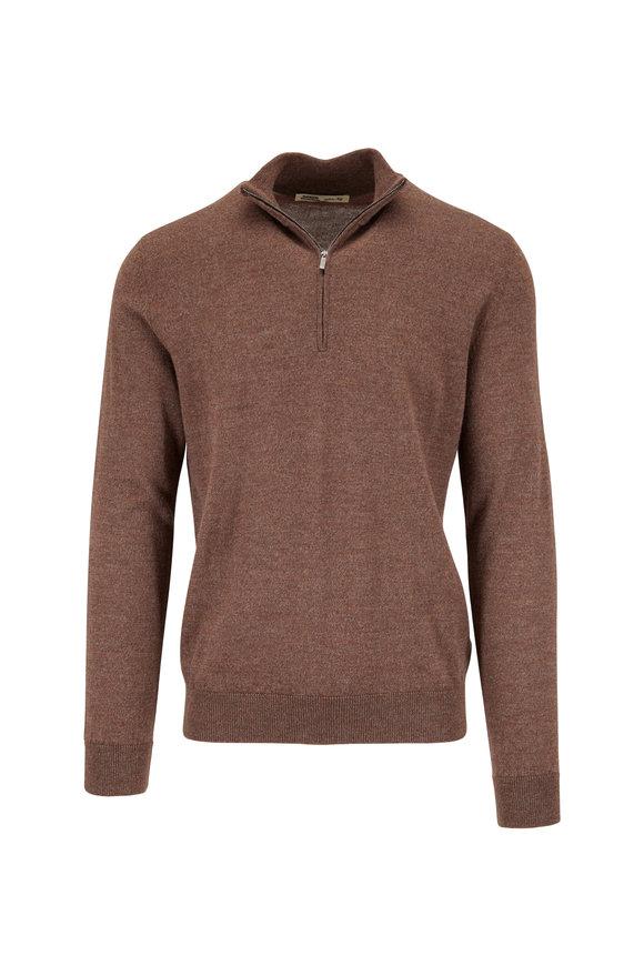 Maurizio Baldassari Brown Wool Quarter-Zip Pullover