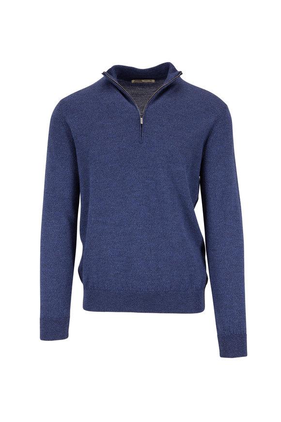 Maurizio Baldassari Blue Wool Quarter-Zip Pullover